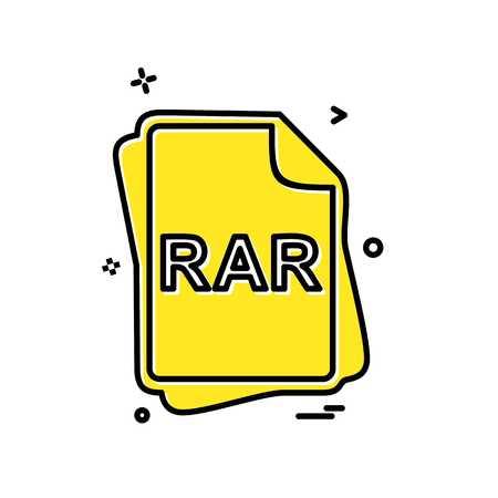 RAR file type icon design vector