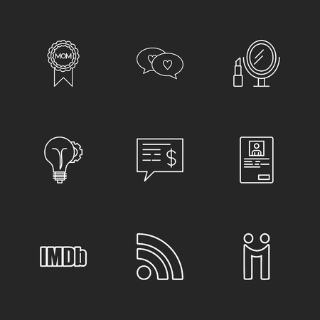 mom , chat ,loving, mirror, idea, dollar , profile ,imdb, wifi , icon, vector, design,  flat,  collection, style, creative,  icons