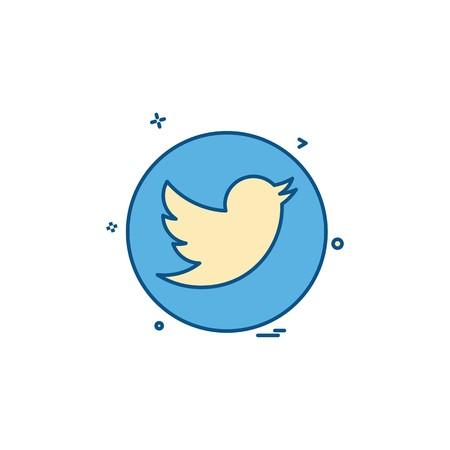 réseau de médias social twitter icône vecteur conception Vecteurs