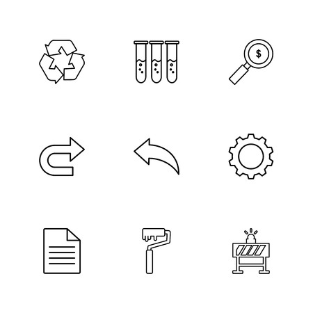 testtube , dollar,  search , forword , next , back , setting , gear , file , paint  roller , bord , icon, vector, design,  flat,  collection, style, creative,  icons Illustration