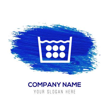 Icône de symboles de blanchisserie - fond aquarelle bleu