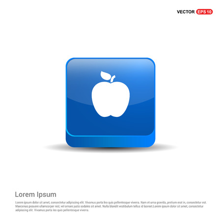 Apple fruit icon - 3d Blue Button.