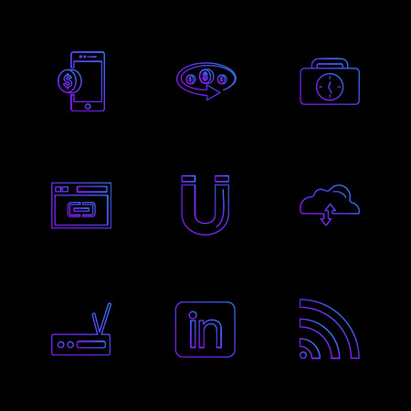 mobile , tine , breifcase , magnet , cloud , upload , radio , linkedin , wifi eps icons set vector icon, vector, design,  flat,  collection, style, creative,  icons