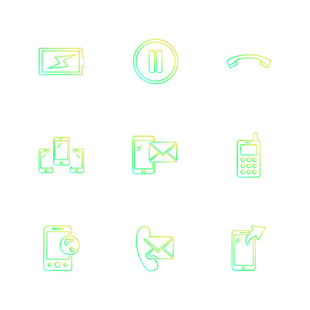 mobile, media, multimedia , call , phones , user interface , messages , wifi , internet , icon, vector, design, flat, collection, style, creative, icons
