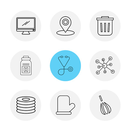 monitor , navigation , dust bin , medical , chemical bonding , cd , gloves , beater , icon, vector, design,  flat,  collection, style, creative,  icons Иллюстрация