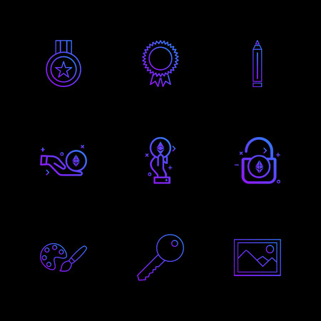 medal , badge , pencil , unlock , scenery , key , paint , icon, vector, design,  flat,  collection, style, creative,  icons