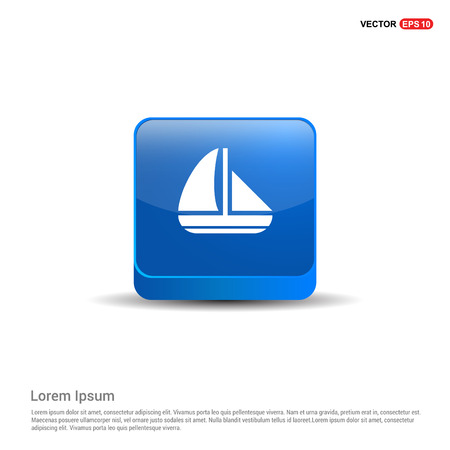 Boat Icon - 3d Blue Button.