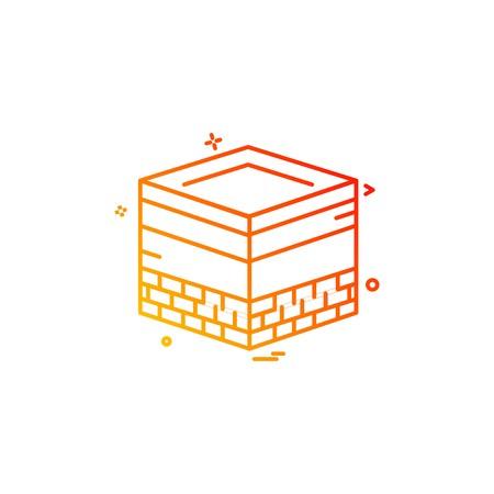 Holy Kaaba icon design vector