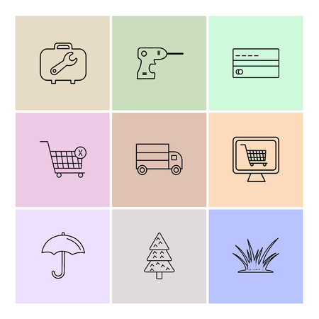 breifcase , drill machine , card , cart , truck , online shopping,  umbrella , tree , grass, icon, vector, design,  flat,  collection, style, creative,  icons Banque d'images - 114712804