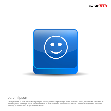 smiley icon, Face icon - 3d Blue Button.