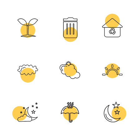 plants , dustbin , umbrella , ecology , sun , cloud , rain , weather , icon, vector, design,  flat,  collection, style, creative,  icons , sky , pointer , mouse , tree , enviroment , cloudy,icon, vector, design,  flat,  collection, style, creative,  icons Illustration