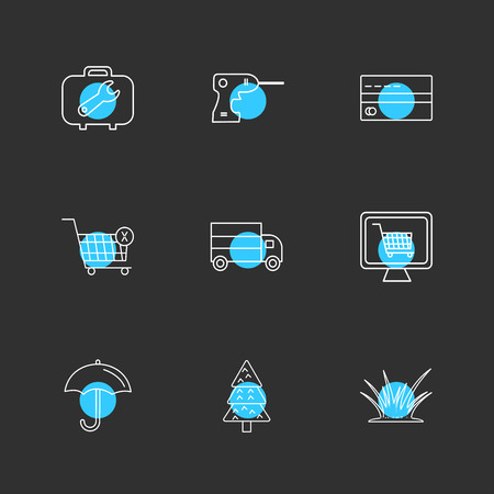 breifcase , drill machine , card , cart , truck , online shopping, umbrella , tree , grass, icon, vector, design, flat, collection, style, creative, icons