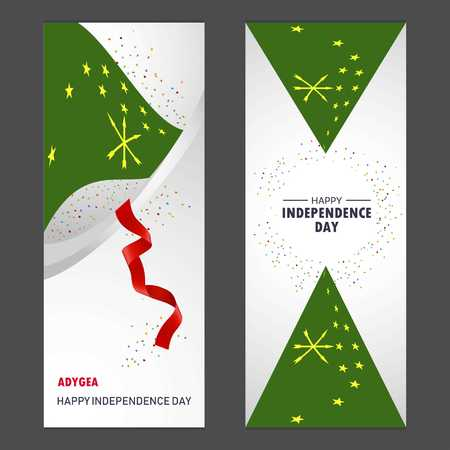 Adygea Happy independence day Confetti Celebration Background Vertical Banner set