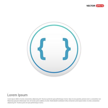 curly bracket icon - white circle button