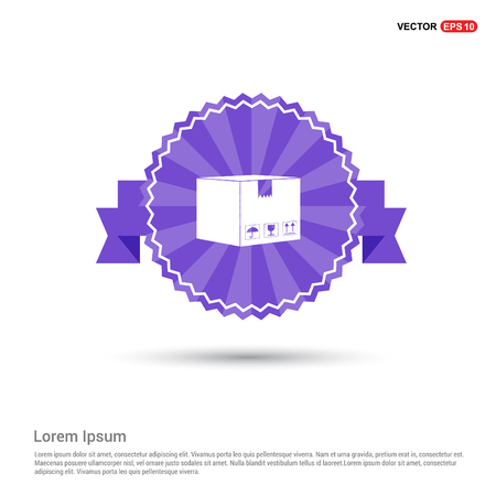 cardboard boxes icon - Purple Ribbon banner