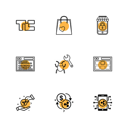 tech crunch , shopping bag , lockes , website , bug , web , money , coins , crypto , crypto currency , currency , currency convert , mobile , icons , flat , icon , set , vector , qualilty , design , collection , creative ,