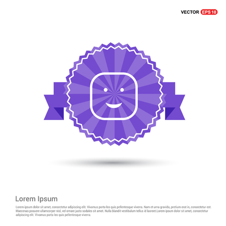 smiley icon, Face icon - Purple Ribbon banner