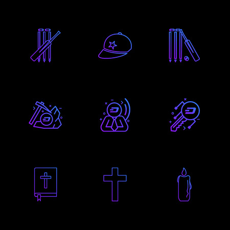 cricket , bat , cap , wicket , axe , bit coin , key , church , cross , candle , bible,  icon, vector, design,  flat,  collection, style, creative,  icons