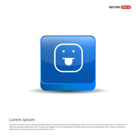 smiley icon, Face icon - 3d Blue Button.
