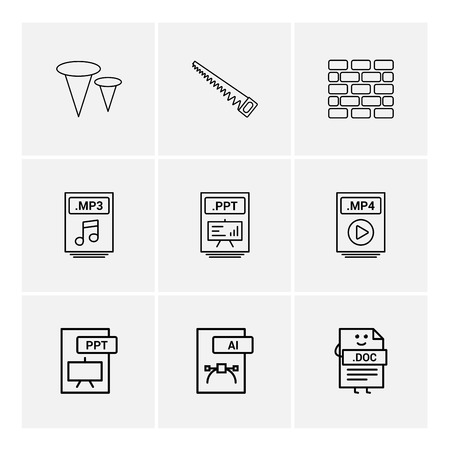 Nails , saw , bricks wall , mp3 , audio file , ppt , power point file , mp4 , video file , pptx , ai , doc , document , icon, vector, design,  flat,  collection, style, creative,  icons Standard-Bild - 114760131