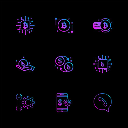 crypto currency , bit coin , ic, money , whatsapp , mobile , wrench , gear ,icon, vector, design,  flat,  collection, style, creative,  icons