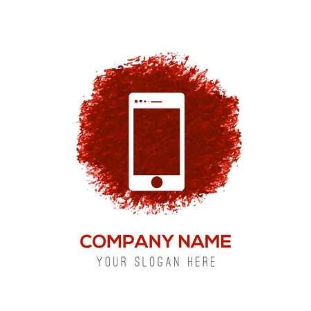 Mobile phone icon - Red WaterColor Circle Splash