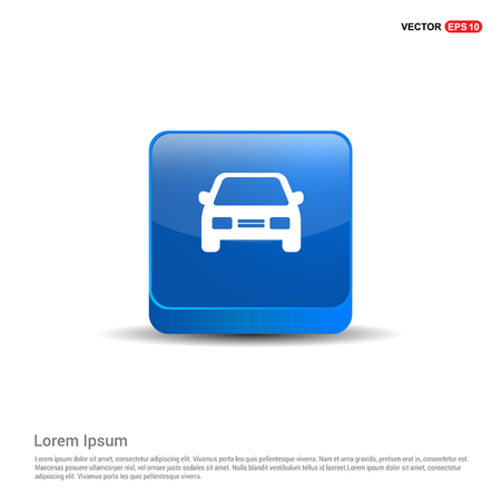 Car icon - 3d Blue Button.