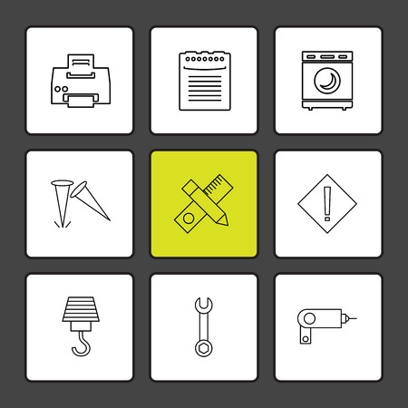 printer , scale , pencil , washing machine , nails , hardware , tools ,labour , constructions , icon, vector, design, flat, collection, style, creative, icons , electronics ,