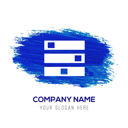 Computer Server icon - Blue watercolor background