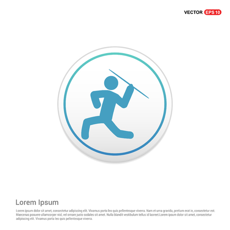 Javelin Throw Icon - white circle button Foto de archivo - 118362941