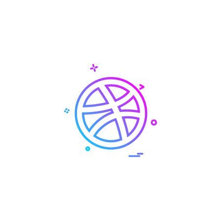 media network social dribbble icon vector design Illustration