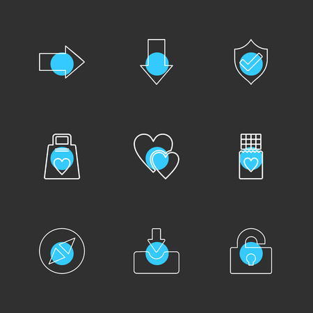 right, down , sheild, heart,  download , unlock , weight , icon, vector, design,  flat,  collection, style, creative,  icons