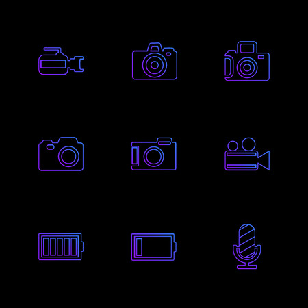 Camera ,  recorder , capture , click , photography , photograph , image , tv , video , microphone , speaker , icon, vector, design,  flat,  collection, style, creative,  icons