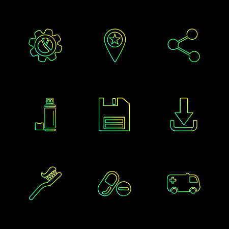 gear , navigation , share, bottle , save , floppy , download ,brush , medical , ambulance ,  icon, vector, design,  flat,  collection, style, creative,  icons Illustration
