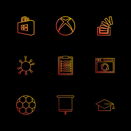 windows store , xbox , stackoverflow , convocation , football,  clipboard , icon, vector, design,  flat,  collection, style, creative,  icons