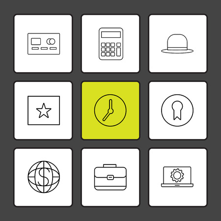 casette , calculator , clock , hat , laptop , globe , icon, vector, design,  flat,  collection, style, creative,  icons Illustration