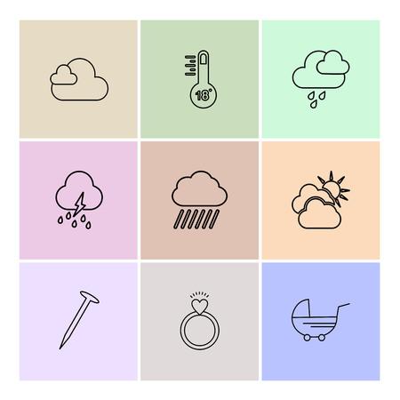 Temprature , heart , ring , param , Ecology , eco , icons , weather , enviroement , icon, vector, design, flat, collection, style, creative, icons , cloud , rain , storm , moon , rainbow , sun , sunlight , Ilustración de vector