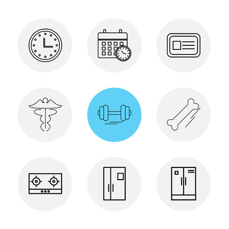 clock , calender , card , casette , gym  dumbell , door , cupboard , bones ,icon, vector, design,  flat,  collection, style, creative,  icons
