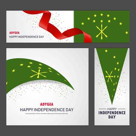 Happy Adygea independence day Banner and Background Set