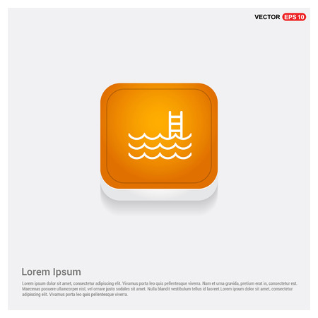 Water pool icon Orange Abstract Web Button - Free vector icon