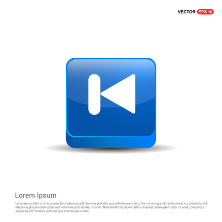 Previous media player icon - 3d Blue Button.