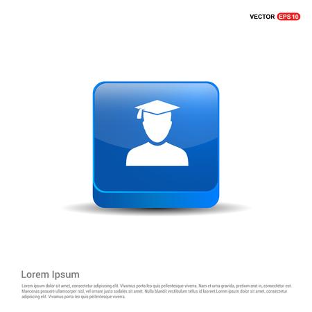Education User Icon - 3d Blue Button. Illustration