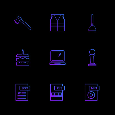 Axe , safety jacket , pump , cake , word document , laptop , mp4 file , pole ,excel file , icon, vector, design,  flat,  collection, style, creative,  icons