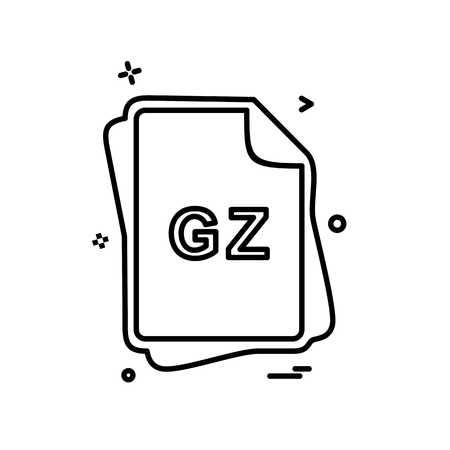 GZ file type icon design vector