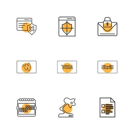 credit card , sheild , envelope , message , locked, skrill , document , visa  microscope , calender , icon, vector, design,  flat,  collection, style, creative,  icons