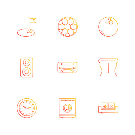 wifi ,  infrared , household , electronics , dice , sun , speaker, clock , balls , iron , couch , curtains ,icon, vector, design,  flat,  collection, style, creative,  icons Illustration