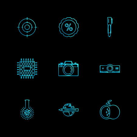 electronics , technology , study , education , science , computer , laptop , graph , bulb, camera , target , cd , video , media , icon, vector, design,  flat,  collection, style, creative,  icons