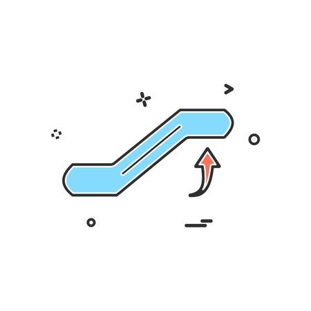 Escalator icon design vector
