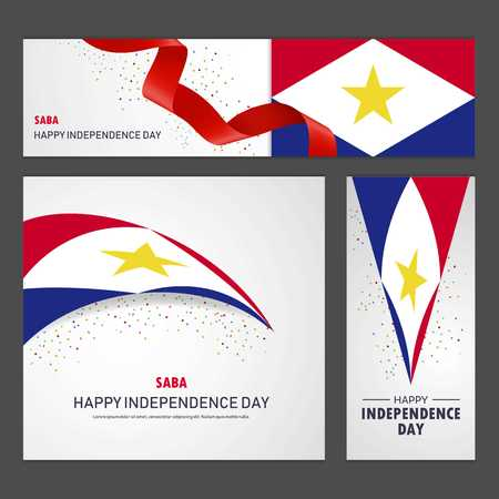 Happy saba independence day Banner and Background Set