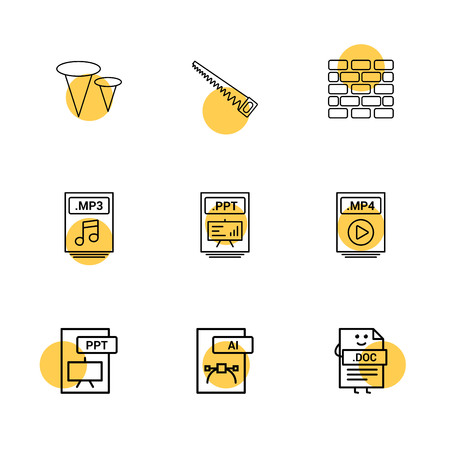 Nails , saw , bricks wall , mp3 , audio file , ppt , power point file , mp4 , video file , pptx , ai , doc , document , icon, vector, design,  flat,  collection, style, creative,  icons Standard-Bild - 115001332